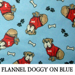 Flannel Doggy on Blue