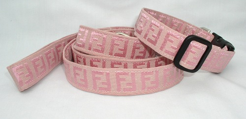 Pink Fendi Fabric collar and leash