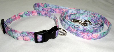 purple & pink floral collar and matching leash