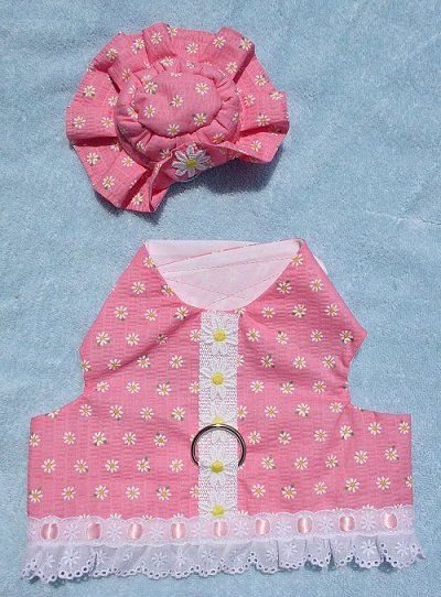 Daisies on pink walking vest with matching hat