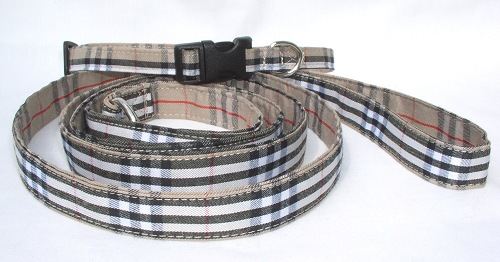 Tan burberry collar and leash
