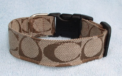 Tan Coach Fabric collar and leash