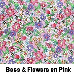 Bees & flowers on pink