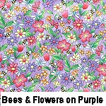 Bees & flowers on purple
