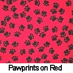 Paw prints on Red