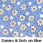 daisies & dots on blue