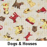 Dogs & Houses on Beige
