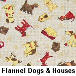 Flannel Dogs & Houses on Beige
