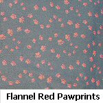 Flannel Red Pawprints on Black