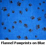 Flannel Pawprints on Blue