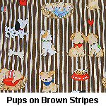 Pups on Brown Stripes