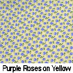 purple roses on yellow background
