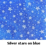 silver stars on blue background