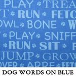 Dog Words on Blue
