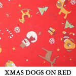 Xmas Dogs on Red