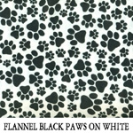 Flannel Black Paws on White