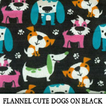 Flannel Cute Dogs on Black