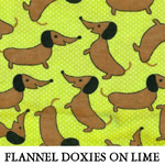 Flannel Doxies on Lime