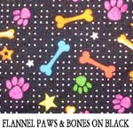 Reversible Flannel Paws & Bones on Black..ONE XS**ONE Small