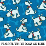 Flannel White Dogs on Blue