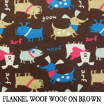 Flannel Woof Woof on Brown